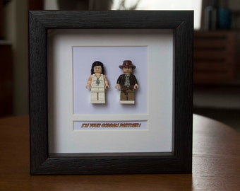 SALE *** Discounts on all frames *** Indiana Jones Framed Mini Figures Indiana & Marion made from Lego