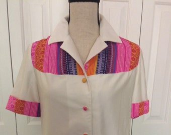 Vincenti Womens Button shirt/Hawaiian Vintage shirt/Vintage Vincenti Hawaiian top/1970 hippie shirt