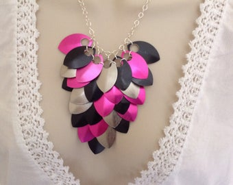 Hot Pink And Black Necklace, Dragon Scale Necklace, Chain Mail Necklace, Best Friend Birthday Gift For Her, Colorful Goth Jewelry For Women