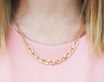 Simple Gold Plated Chain Necklace Dainty Delicate