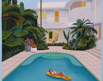 Mid Century Modern Eames Retro Limited Edition Print from Original Painting Woman Floating Pool