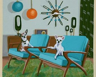 Mitte Jahrhundert Modern Eames Retro Limitierte Auflage Aus Original  Gemälde Chihuahuas Dänischen Stühle