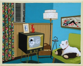 Mid Century Modern Eames Retro Limited Edition Print from Original Painting TV Leave It To Beaver