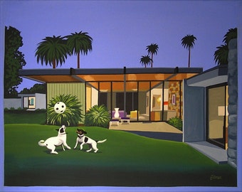 Mid Century Modern Eames Retro Limited Edition Print from Original Painting Wexler House Dogs