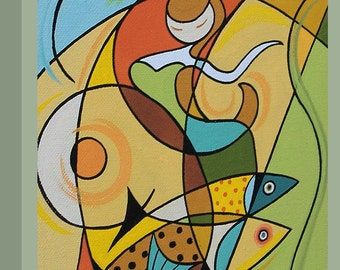 Canvas Print Mid Century Modern Eames Retro from Original Painting Abstract Mermaid