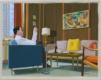 Mid Century Modern Eames Retro Limited Edition Print from Original Painting Mad Men Don Draper