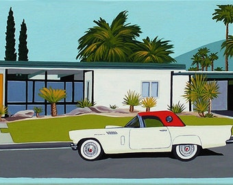 Mid Century Modern Eames Retro Limited Edition Print from Original Painting Thunderbird Palm Springs House