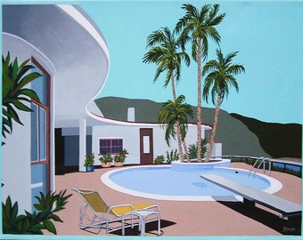 Mid Century Modern Eames Retro Limited Edition Print from Original Painting Hollywood House Pool