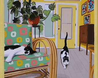 Mid Century Modern Eames Retro Limited Edition Print from Original Painting Cats Sun Room