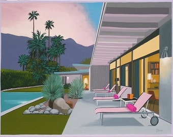 Mid Century Modern Eames Retro Limited Edition Print from Original Painting Pink Sunset Patio