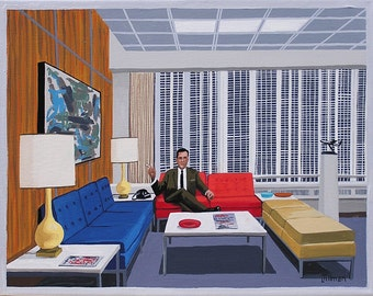 Mid Century Modern Eames Retro Limited Edition Print from Original Painting Don Draper Sterling Cooper