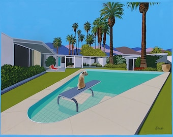 Mid Century Modern Eames Retro Limited Edition Print from Original Painting Dog on Diving Board