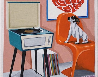 Mid Century Modern Eames Retro Limited Edition Print from Original Painting Rat Terrier Record Player