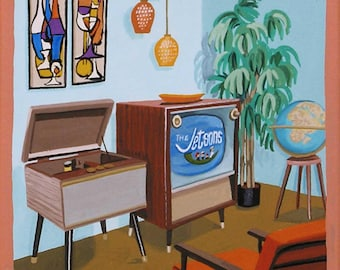 Mid Century Modern Eames Retro Limited Edition Print from Original Painting TV The Jetsons