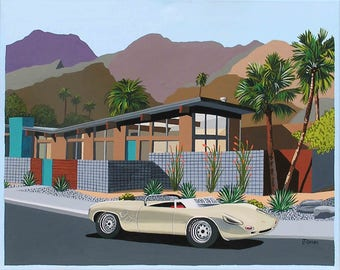 Mid Century Modern Eames Retro Limited Edition Print from Original Painting 1960 Porsche Spider