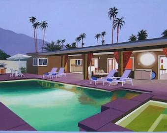 Mid Century Modern Eames Retro Original Painting Palm Springs Puple Patio Pool