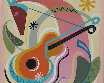 Mid Century Modern Eames Retro Limited Edition Print from Original Painting Guitar Horse