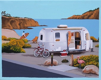 Mid Century Modern Eames Retro Limited Edition Print from Original Painting Airstream Surfer