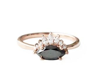 Marquise Black Diamond Ring ,Diamond Engagement Ring, Black Diamond Crown Engagement Ring, Antique Engagement Ring, Vintage Engagement Ring