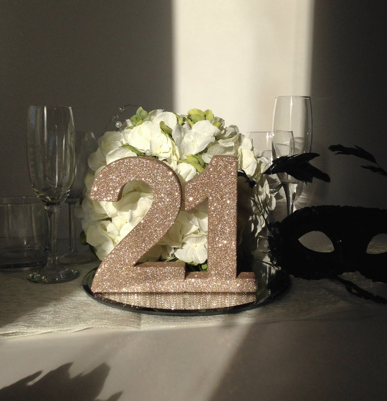21st Birthday Party Table Number Rose Gold