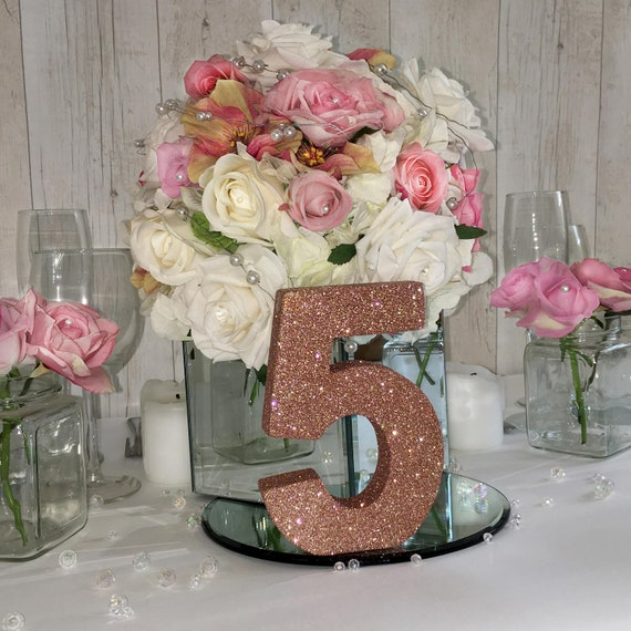 Table Numbers Rose Gold Wedding Reception Table Decorations Etsy