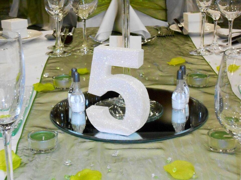 GLITTER NUMBER TABLE CENTREPIECE STAND BIRTHDAY ANNIVERSARY PARTY DECORATION