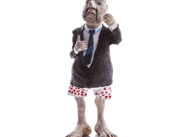 Free shipping, Paper mache sculpture , angry old man, caricature