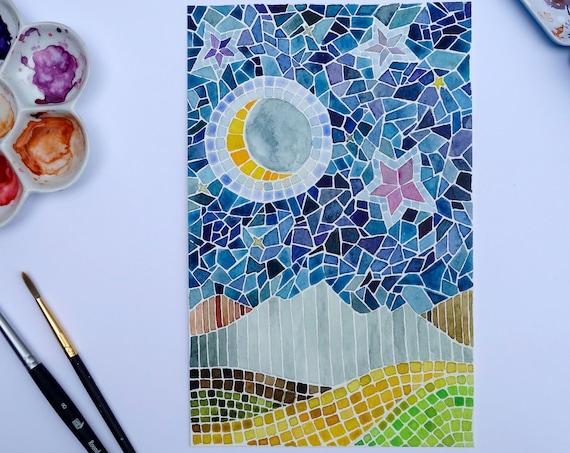 Original Faux Mosaic Watercolor Painting Contemporary Modern Landscape Mountains and Moons