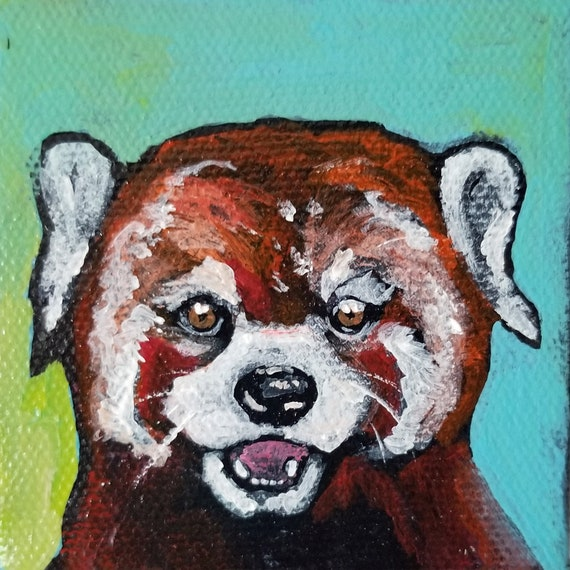 SALE Contemporary 3 x 3 Red Panda Mini Acrylic Painting on Canvas by artist Jennifer Boes