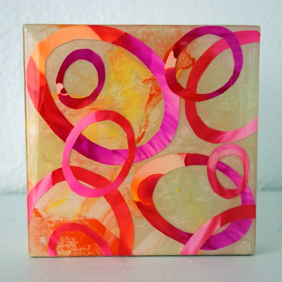 "Contemporary Abstract 4"" x 4"" on cradled wood ""Pixie Rings"" Original Alcohol Ink Collage by artist Jennifer Boes"