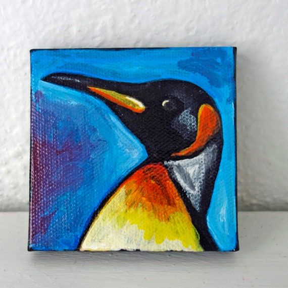 "SALE Contemporary 3""x 3"" Penguin Acrylic Painting on Canvas by artist Jennifer Boes"