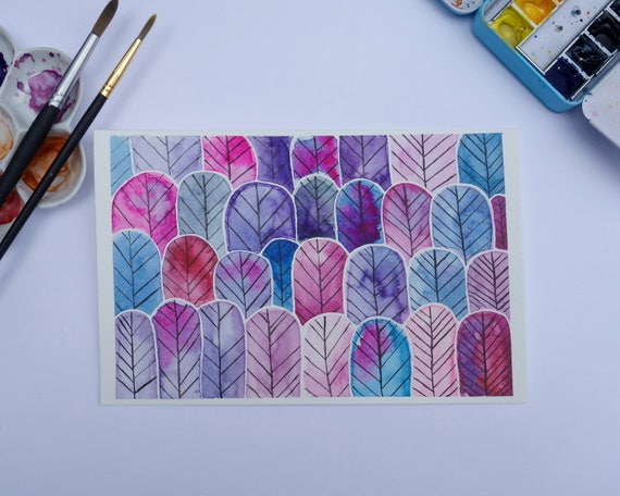 Original Watercolor Painting Print  Contemporary Modern Abstract Stylized Trees & Feathers