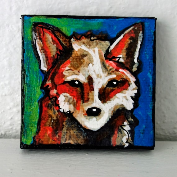 SALE Contemporary 3 x 3 Fox Mini Acrylic Painting on Canvas by artist Jennifer Boes