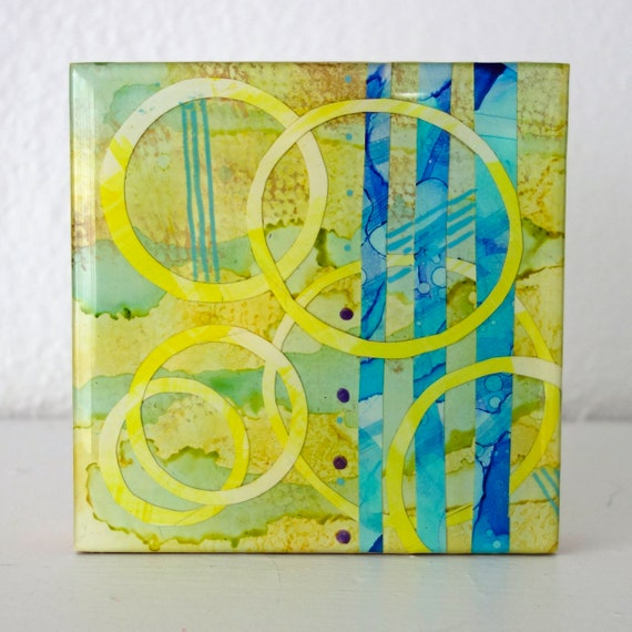 "Contemporary Abstract 4"" x 4"" on cradled wood ""Nana"" Original Alcohol Ink Collage by artist Jennifer Boes"