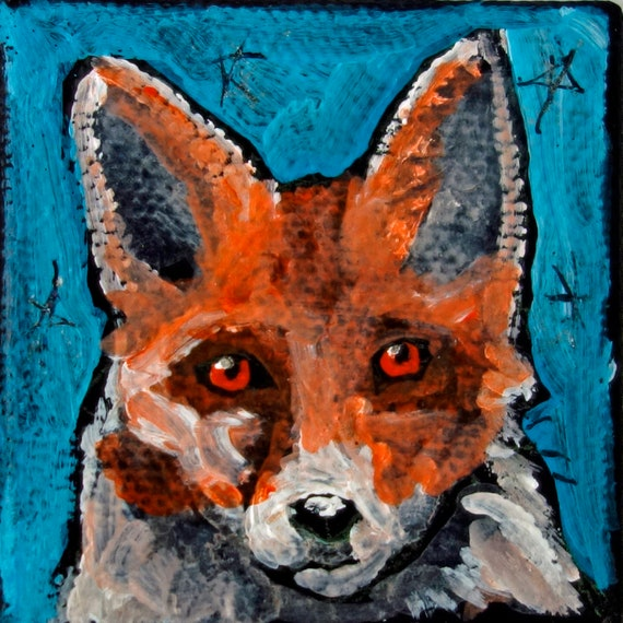 SALE Contemporary 2 x 2 Tiny Fox Mini Acrylic Painting on Canvas by artist Jennifer Boes