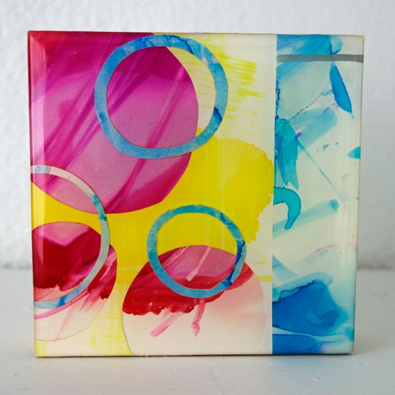 "Contemporary Abstract 4"" x 4"" on cradled wood ""First Day"" Original Alcohol Ink Collage by artist Jennifer Boes"