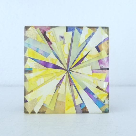"Yellow Contemporary Abstract 3"" x 3"" on cradled wood Original Alcohol Ink Resin Collage by artist Jennifer Boes"