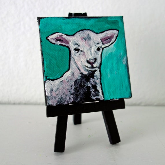 SALE Contemporary 3 x 3 Lamb Mini Acrylic Painting on Canvas by artist Jennifer Boes