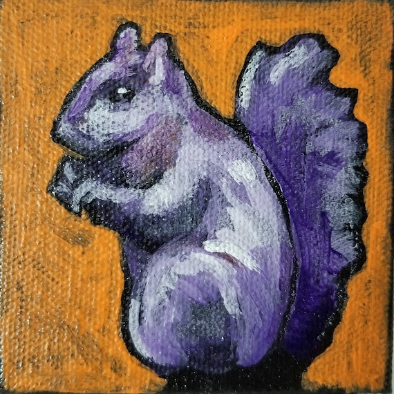 SALE Contemporary 3 x 3 Squirrel Mini Acrylic Painting on Canvas by artist Jennifer Boes