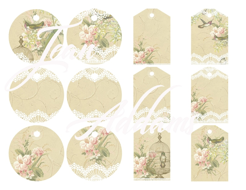 Vintage victorian style gift tags Mothers day, digital