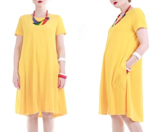 f1a698aac2a5e Vintage Nordstrom Yellow Terry Cloth Dress Size Large XL