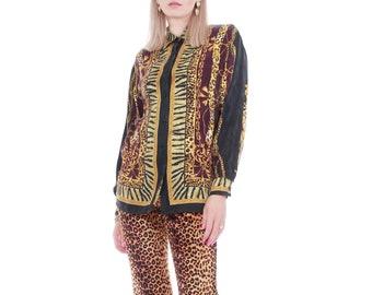 c8ca19c9ece8 Vintage Silk Animal Baroque Print Versace Style Blouse Size Medium