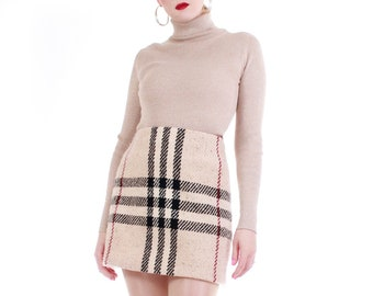 88bed91686 Burberry Nova Check High Waist Mini Skirt