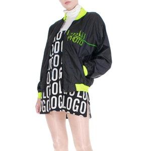 Vintage Lagerfeld Black and Neon Green Spellout Windbreaker Jacket