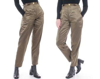 3e83655b6133b Green satin pants | Etsy