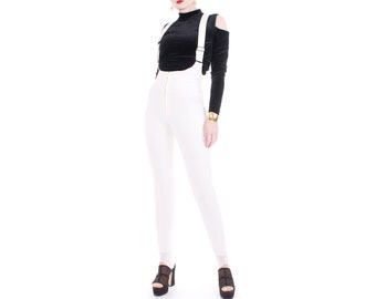 377d33dd108a Vintage White Wool Overalls Stirrup Jumpsuit Roffe Made in the USA Women s  Size XS