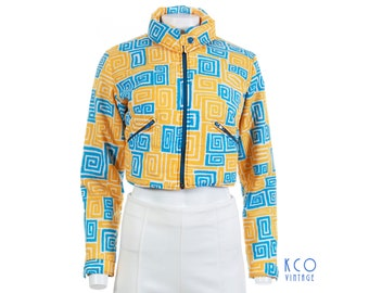 80s ANBA of Austria Cropped Ski Jacket Yellow Blue White Abstract Geo Print  Puffer Vintage Clothing Women s Size XS-Small d066df1a7
