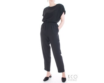 Black Silk Pantsuit 2 Piece High Waist Pants and Top Set Women s Size Small  25-30