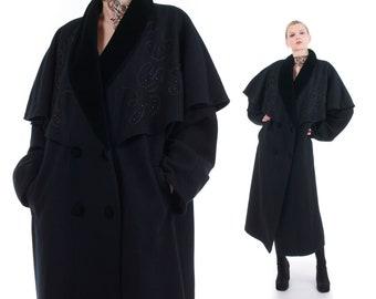 41cb3747ab2 Beaded Wool Cape Coat 1980 s Vintage Plus Size 2X 58