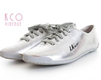 LA Gear Metallic Shoes Silver Sneakers 1980 s Vintage Women s Size US 6.5 -  Uk 4.5 - Eur 37 ca82d427a